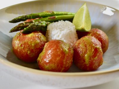 smokey tomatoes in green curry dressing